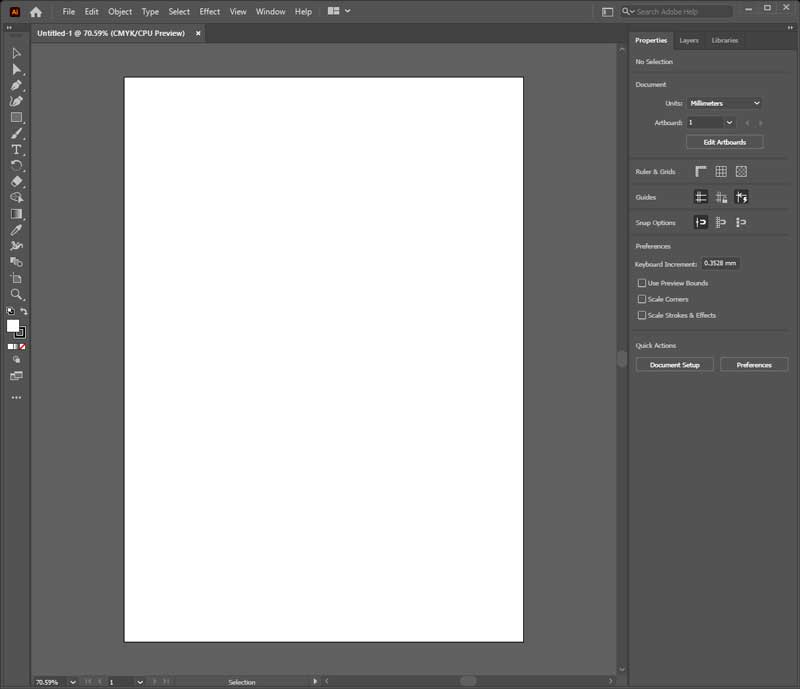 Adobe Illustrator Interface with A4 Document