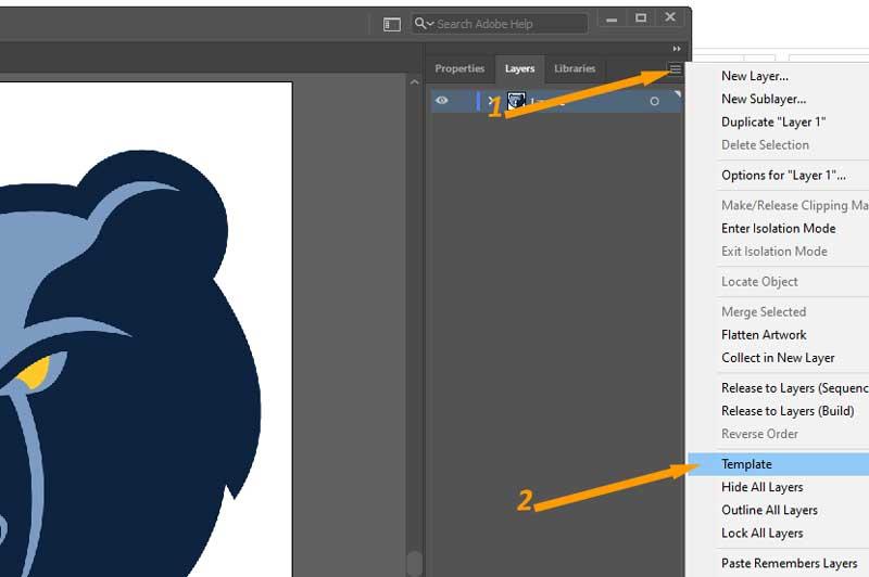 Template Option in Adobe Illustrator