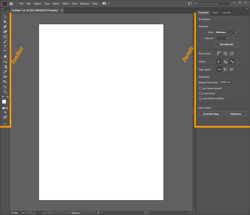 Toolbar and Panels in Adobe Illustrator